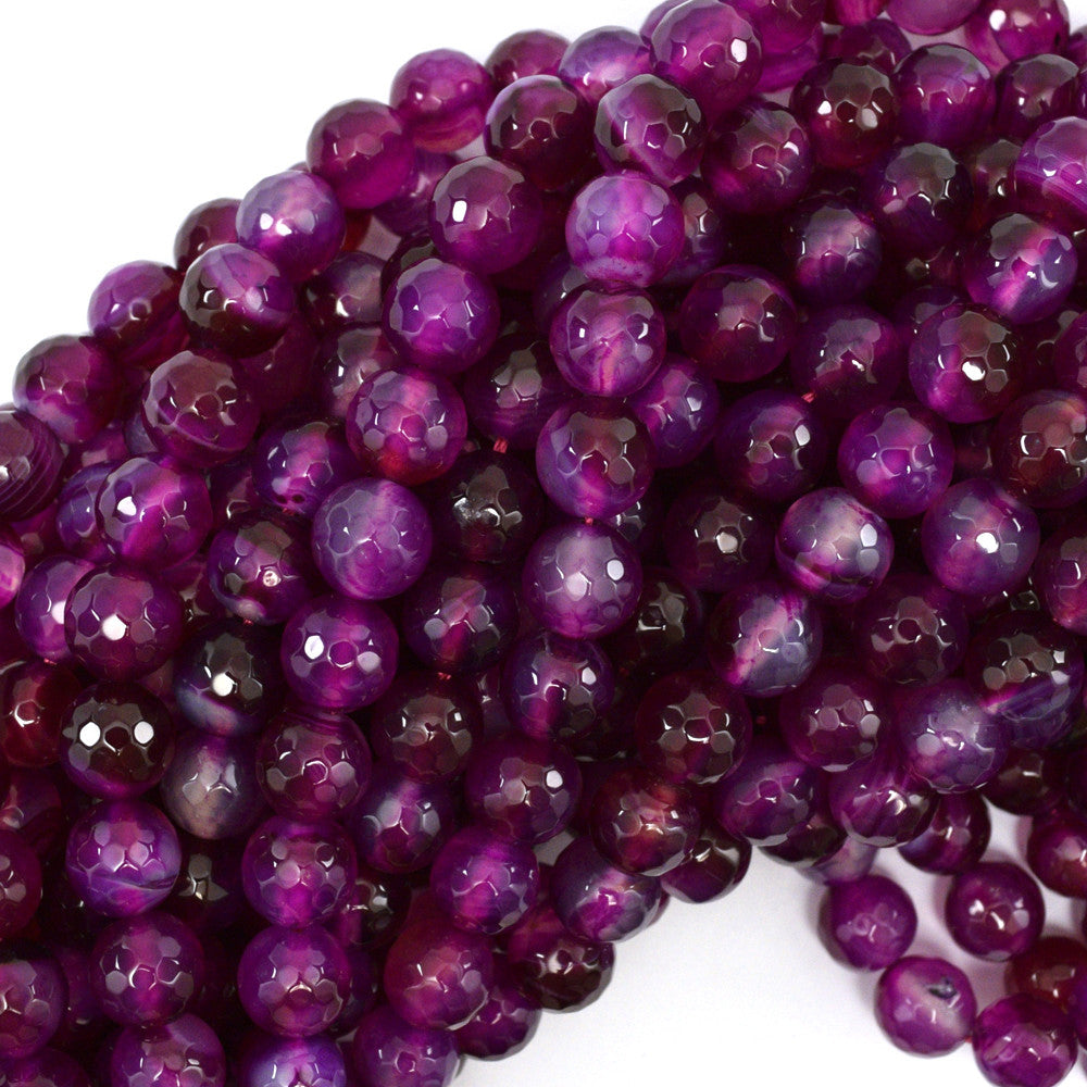"10mm faceted agate round beads 15"" strand fuchsia"