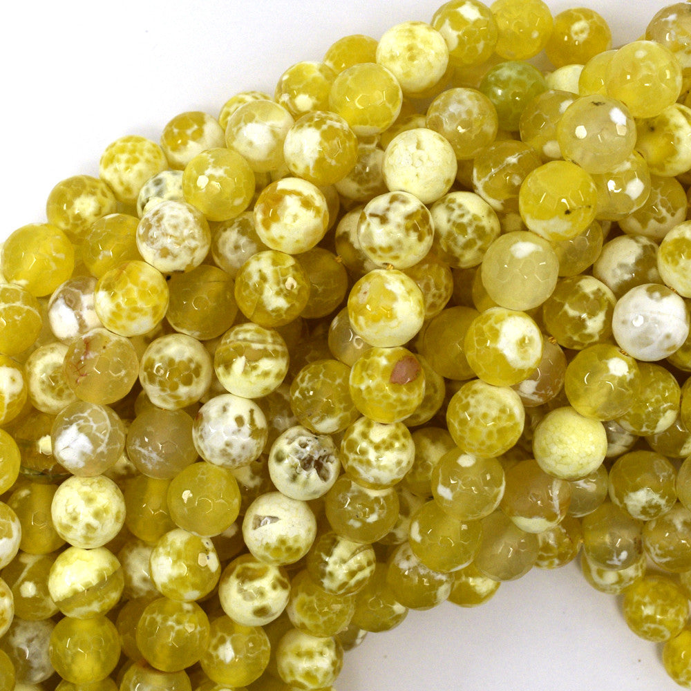 "10mm faceted agate round beads 15"" strand yellow"