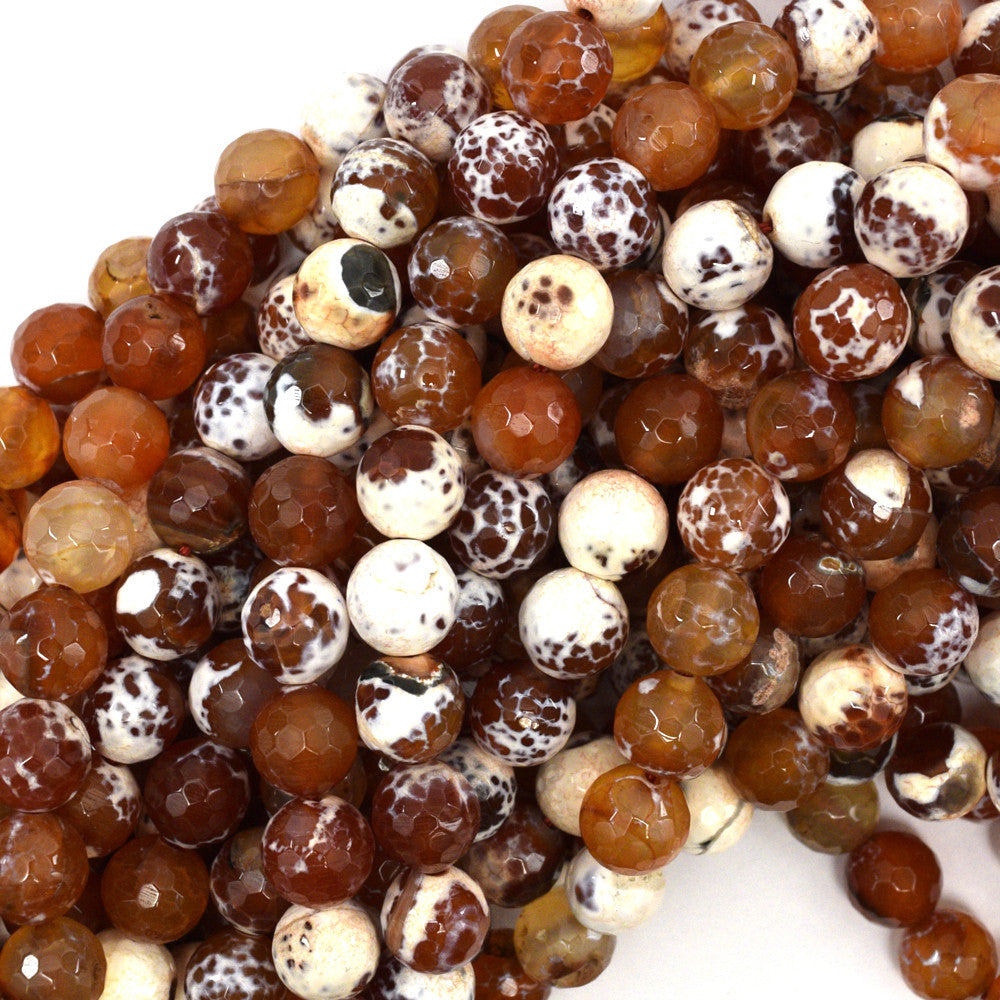 "10mm faceted agate round beads 15"" strand orange brown"
