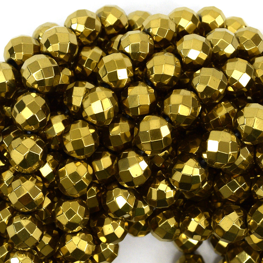 "10mm faceted gold hematite round beads 15.5"" strand"