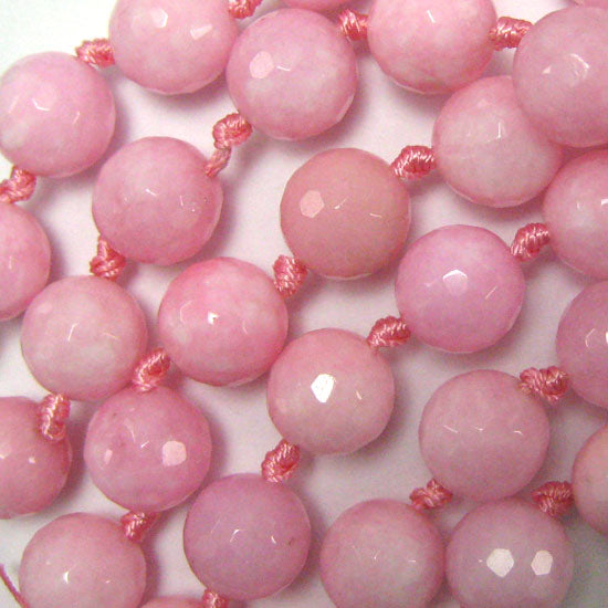 "14mm faceted jade round beads 10"" strand pink"