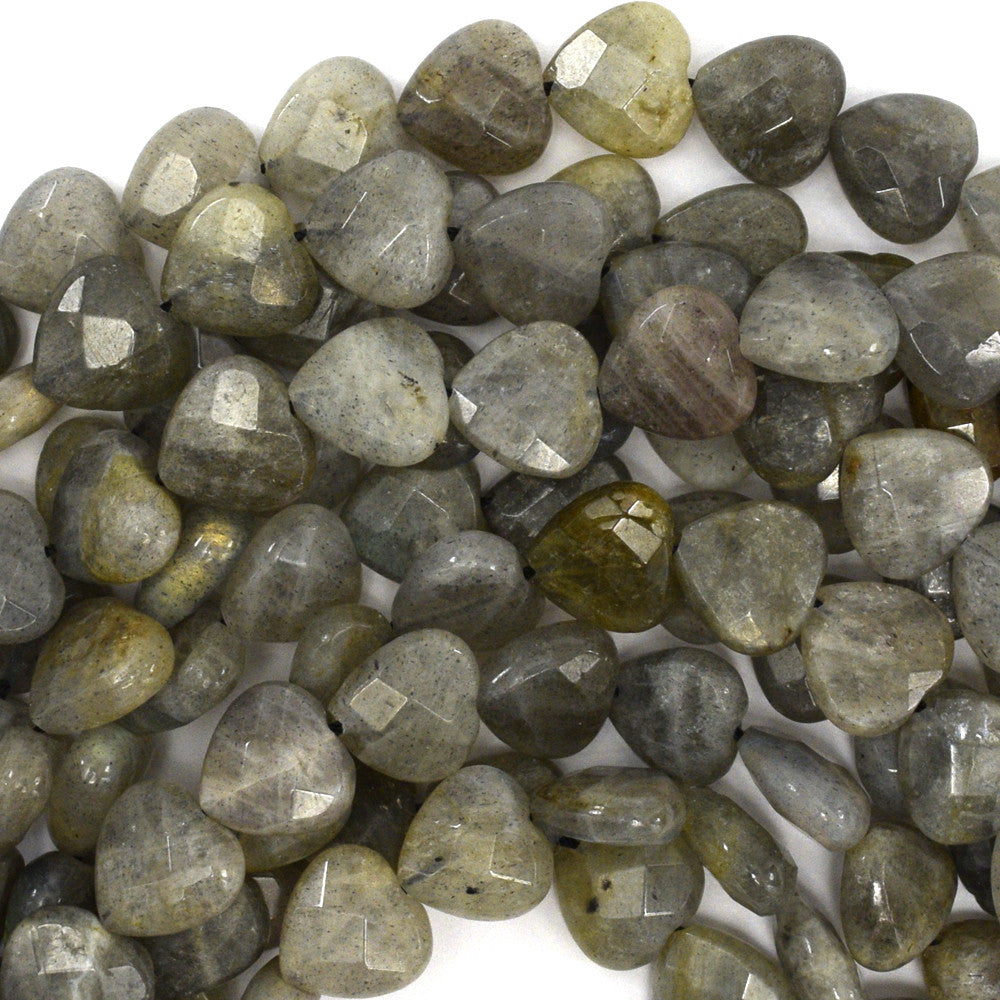 "10mm faceted grey labradorite heart beads 15.5"" strand"