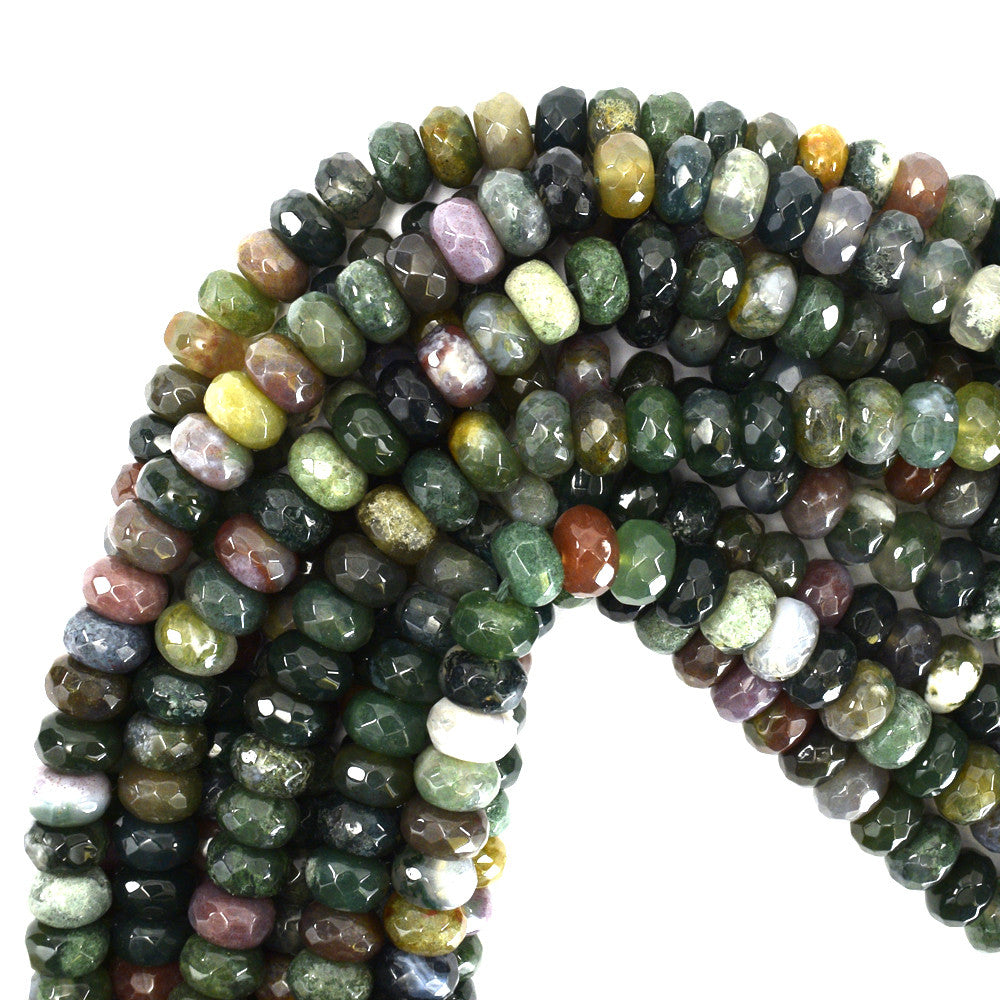 "10mm faceted indian agate rondelle beads 15"" strand"