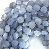 10-12mm faceted blue lace agate flat nugget beads 15