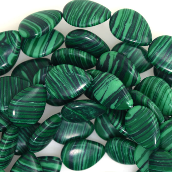 "18mm synthetic green malachite flat teardrop beads 15"" strand"