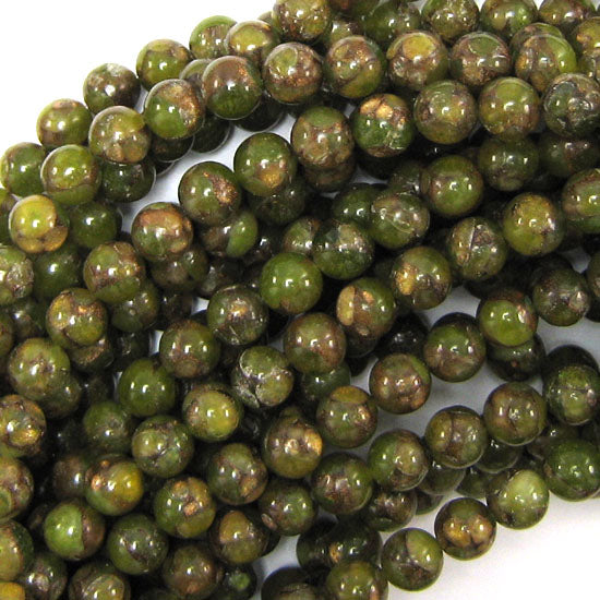 "8mm pressed jade round 15"" strand olive green"