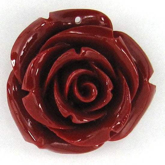 2 pieces 35mm red synthetic coral carved rose flower pendant beads