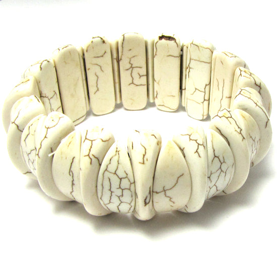 30mm white turquoise stretch bracelet 8""