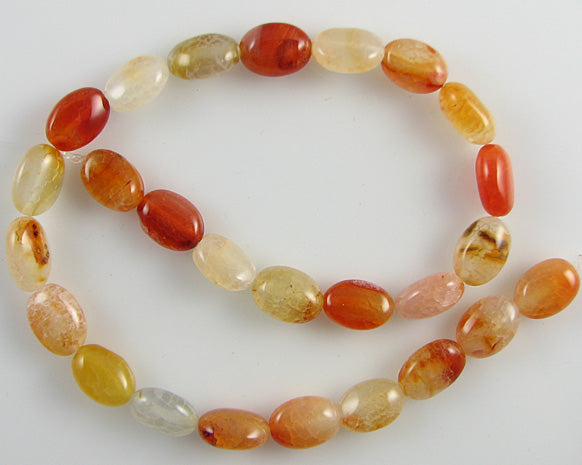 "14mm orange crab fire agate flat oval beads 14"" strand"