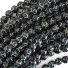 8mm black jade carved round beads 15