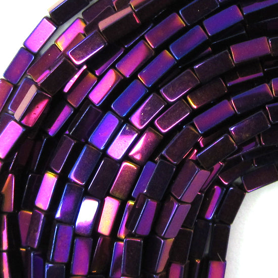 "4mm hematite side tube beads 16"" strand purple color"