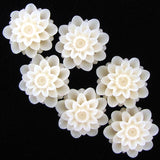 18mm cream synthetic coral carved chrysanthemum flower pendant bead 6pcs