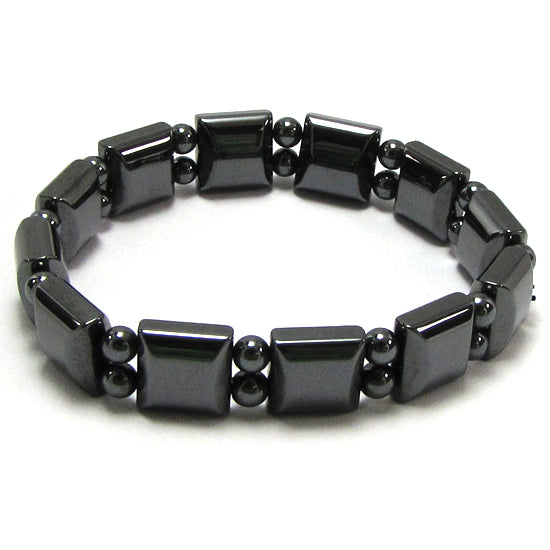 10mm magnetic hematite bead stretch bracelet 7""