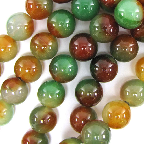 "16mm brown green agate round beads 15"" strand"