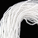 4mm matte white crack crystal round beads 15.5