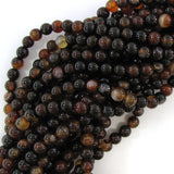 8mm black brown dream agate round beads 15