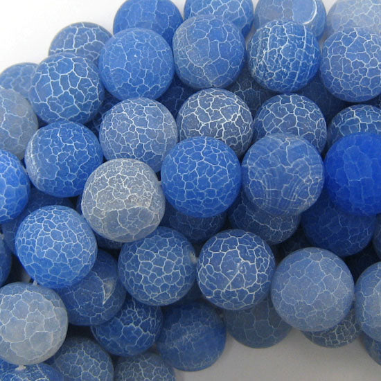 "14mm matte blue fire agate round beads 15"" strand"