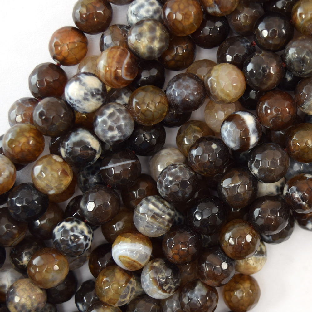 "10mm faceted brown crab fire agate round beads 14.5"" strand"