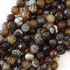 10mm faceted brown crab fire agate round beads 14.5