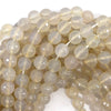 10mm faceted grey white agate round beads 15