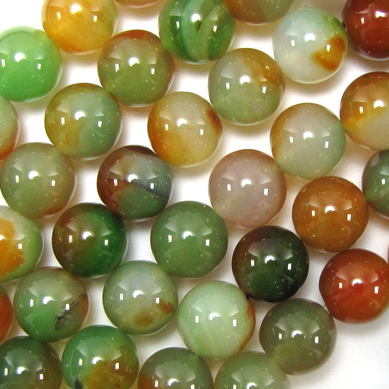 "14mm brown green agate round beads 15"" strand"