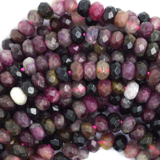 "5mm natural faceted watermelon tourmaline rondelle beads 15.5"" strand"