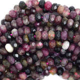5mm natural faceted watermelon tourmaline rondelle beads 15.5