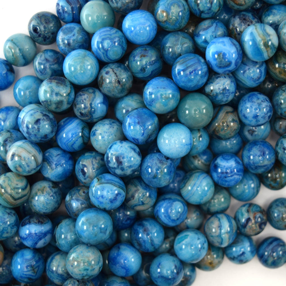 "Blue Crazy Lace Agate Round Beads Gemstone 15.5"" Strand 4mm 6mm 8mm 10mm12mm"