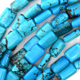 10x14mm blue turquoise rectangle beads 16