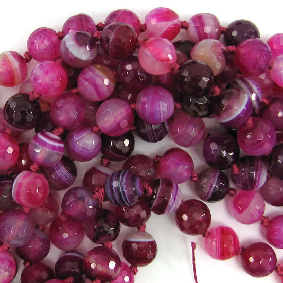"10mm faceted magenta stripe agate round beads 15"" strand S1"