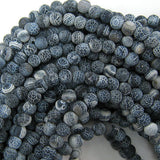 6mm matte black fire agate round beads 15