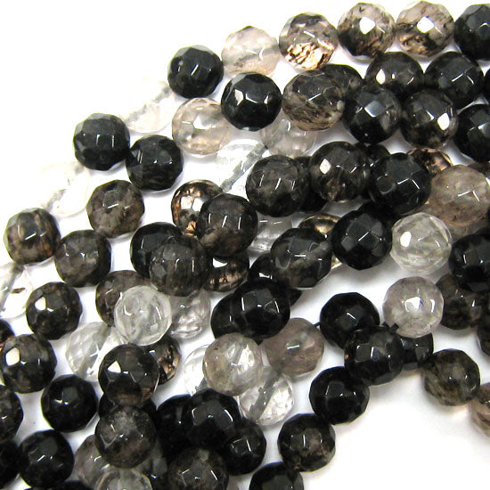 "12mm faceted black moss quartz round beads 15"" strand"