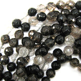 12mm faceted black moss quartz round beads 15