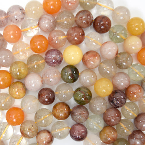 "8mm matte rainbow white quartz round beads 15.5"" strand"