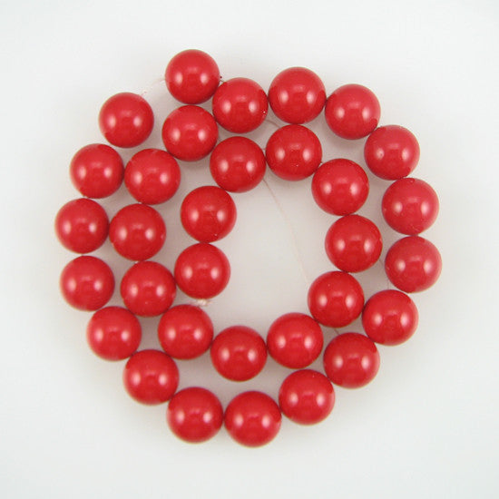 "12mm red shell pearl round beads 16"" strand"