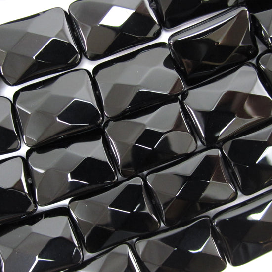 "18mm faceted black onyx rectangle beads 15.5"" strand"