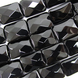 18mm faceted black onyx rectangle beads 15.5