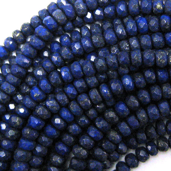 "6mm faceted blue lapis lazuli rondelle beads 15.5"" strand"