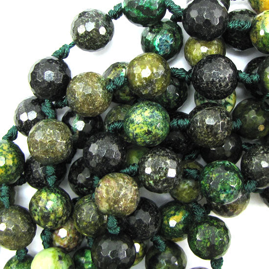 "14mm faceted brown green jasper round beads 14"" strand"