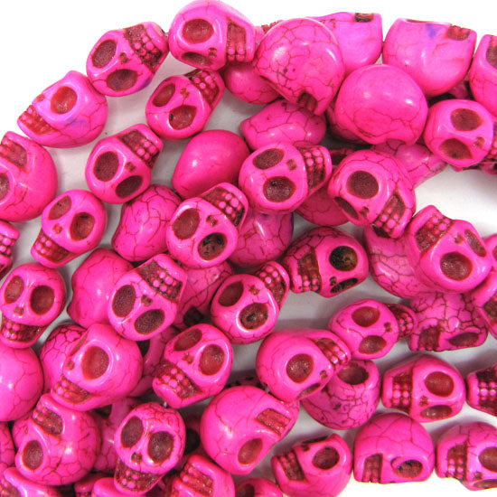 "13x17mm magenta turquoise carved skull beads 15.5"" strand"