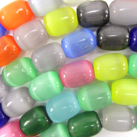 "13x16mm multicolor fiber optic cats eye barrel beads 15"" strand"