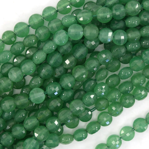 "31mm faceted green aventurine flat teardrop beads 16"" strand"