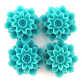 18mm synthetic blue coral carved chrysanthemum flower pendant bead 6pcs