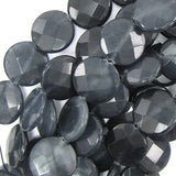 24mm faceted dark grey jade coin beads 15