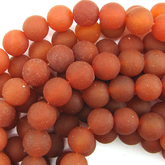 "14mm matte red carnelian round beads 15"" strand"