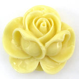 4 pieces 34mm synthetic coral carved rose flower pendant bead yellow