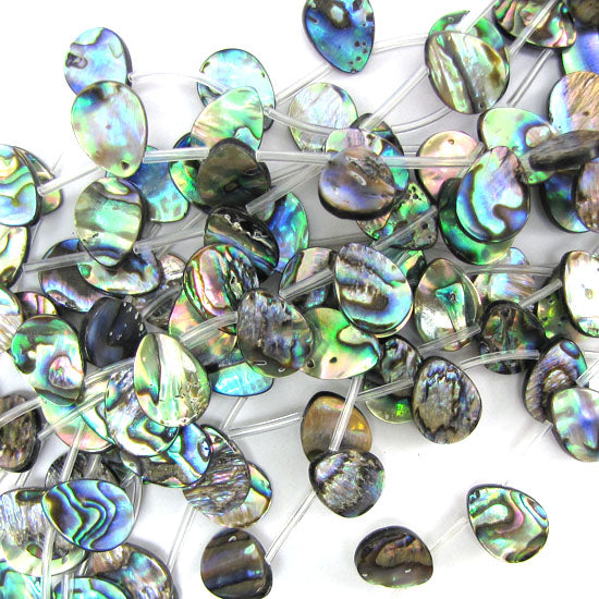 "16mm abalone shell flat teardrop beads 15.5"" strand top drilled"