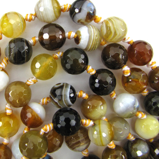 "12mm faceted botswana agate round beads 14"" strand"