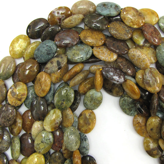 "18mm natural ocean jasper flat oval beads 15.5"" strand"