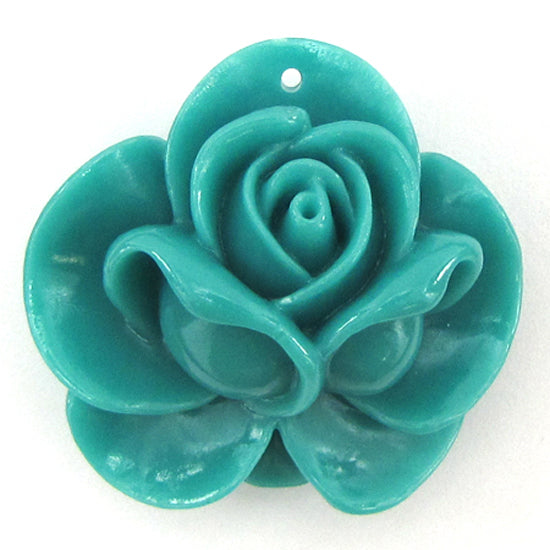 4 pieces 34mm synthetic coral carved rose flower pendant beads blue